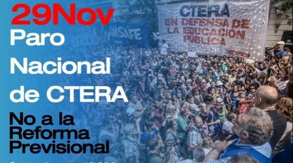 Paro nacional docente y movilización al congreso junto a gremios de la CGT y CTA