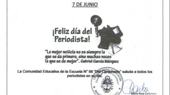 Escuela 88: Salutaciones por el día del periodista