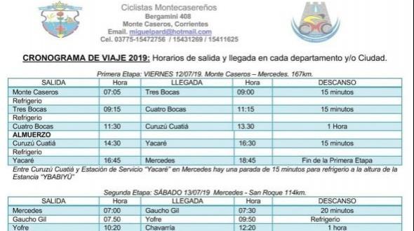 Los Ciclistas Montecasereños partirán mañana a Itatí