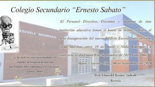 El lunes se inaugura el nuevo edificio del Colegio Ernesto Sábato