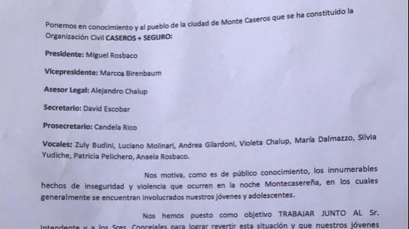 """Se constituyó la organización civil """"Caseros + Seguro"""""""