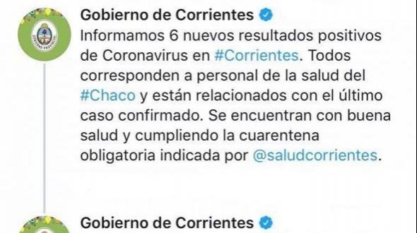 Confirmaron seis nuevos casos de coronavirus en Corrientes: Tiene 11 casos en total