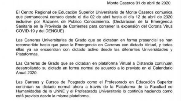 El Centro Regional de Educación Superior Universitario de Monte Caseros informa: