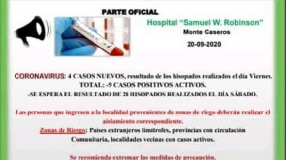 Otro caso positivo de COVID en Monte Caseros