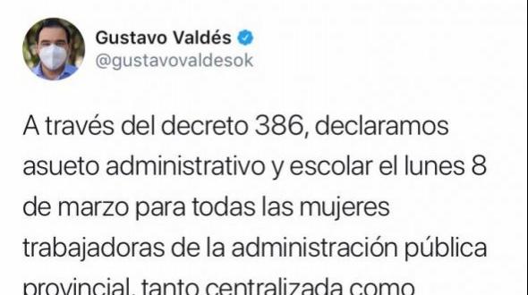 Valdés decretó asueto administrativo y escolar por el Día Internacional de la Mujer