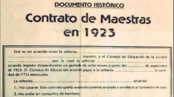 El contrato de trabajo que debían firmar las maestras en 1923