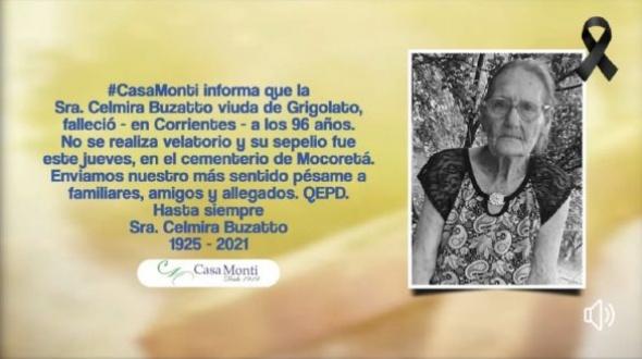 Celmira Buzatto viuda de Grigolatto