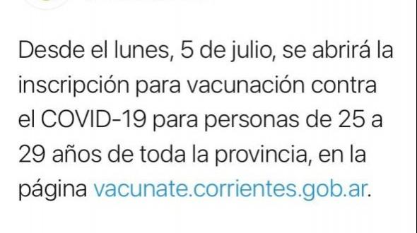 Habilitan inscripción para vacunar a personas de 25 a 29 años