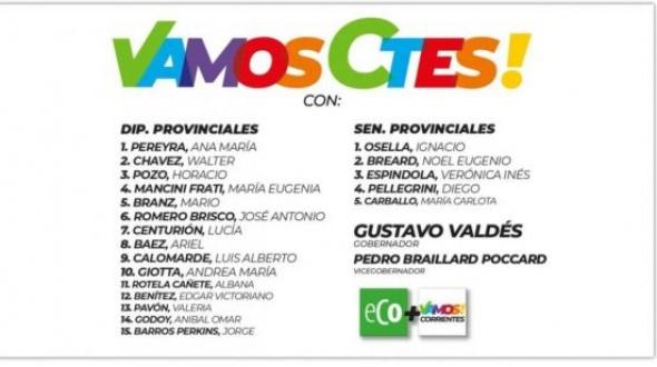Candidatos de la Alianza Eco - Vamos Corrientes
