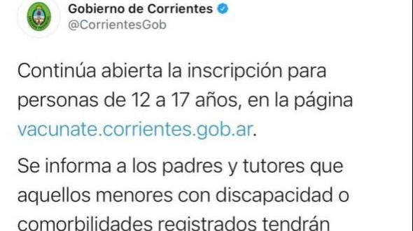 Vacunación anticovid en Corrientes: otorgarán turnos para menores de 12 a 17 años con comorbilidades