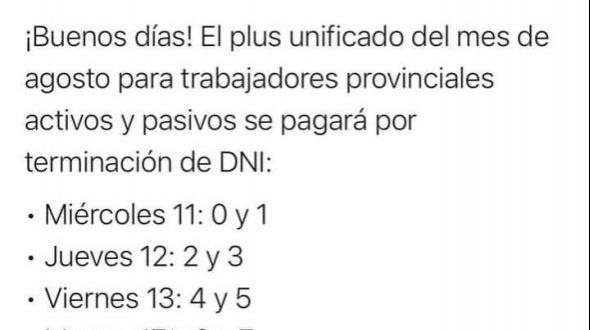 Valdés anunció el pago del plus unificado para los estatales