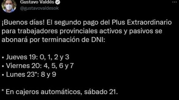 Valdés confirmó pago del plus extraordinadio desde el jueves 19