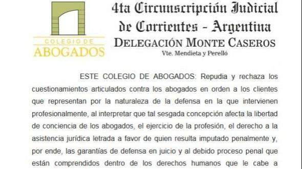 Comunicado del Colegio de Abogados de Monte Caseros