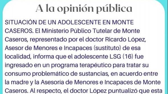 Comunicado del Ministerio Pupilar sobre situación de menor